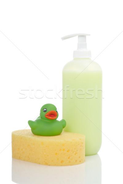Foto stock: Borracha · pato · sabão · esponja · plástico · bombear