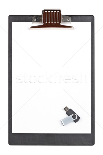 Usb flash drive memory and blank clipboard Stock photo © broker
