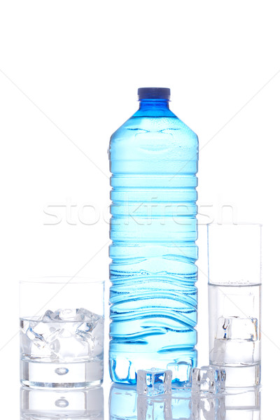 Bottle and glasses of mineral water with ice cubes Stock photo © broker