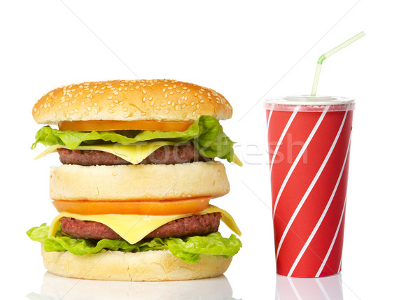 Cheeseburger soude boire vert paille pain Photo stock © broker
