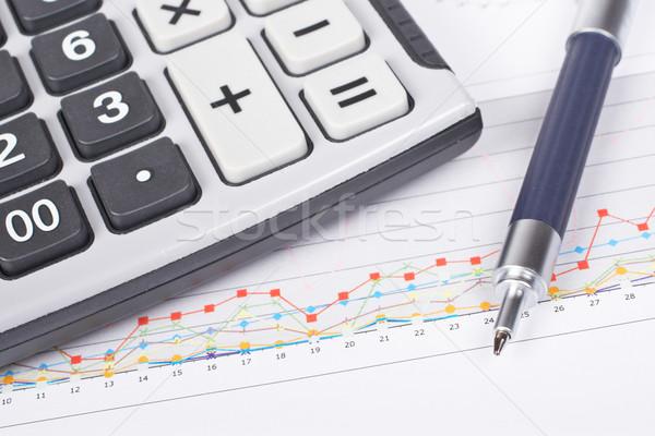 Ganancias calculadora pluma tabla superficial negocios Foto stock © broker