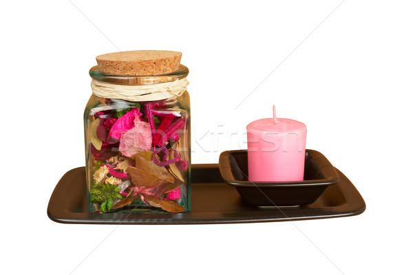 Candela essenza jar isolato bianco percorso Foto d'archivio © broker