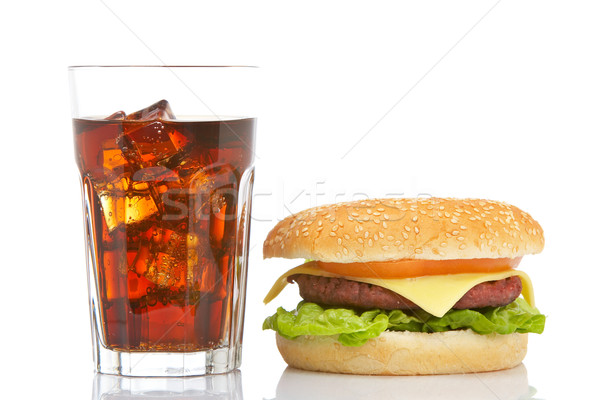 Cheeseburger soude verre blanche peu profond Photo stock © broker