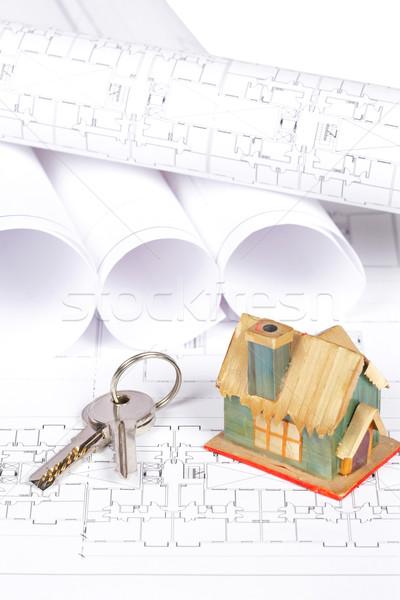 Stockfoto: Blauwdrukken · huis · bouw · plannen · sleutels · ondiep
