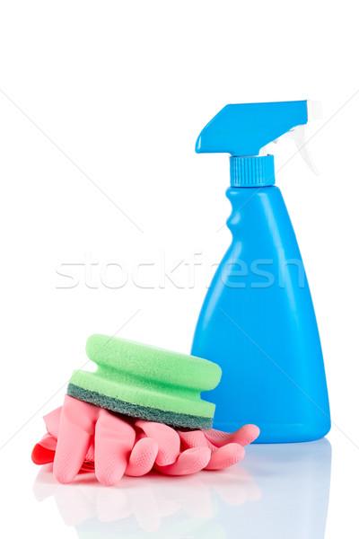 Detergente spray garrafa esponja luvas químico Foto stock © broker