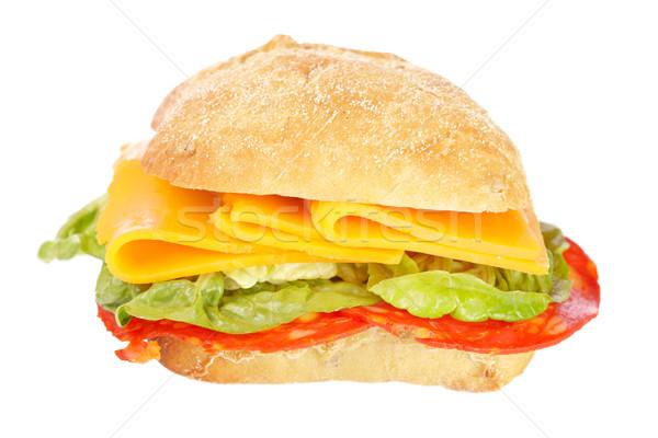 Foto stock: Sándwich · baguette · lechuga · espanol · chorizo · queso