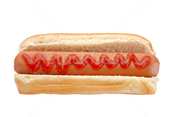 Hot dog ketchup geïsoleerd witte ondiep brood Stockfoto © broker