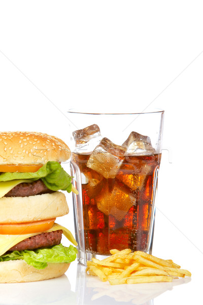Dobrar cheeseburger soda beber branco Foto stock © broker