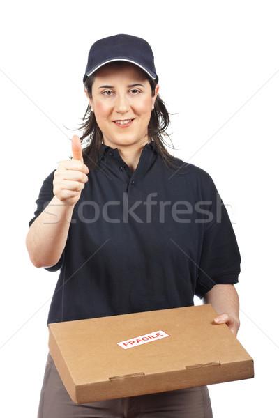 Pakiet kruchy kurier kobieta biały dziewczyna Zdjęcia stock © broker