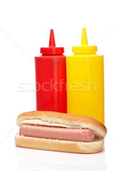 Hot Dog кетчуп горчица бутылок изолированный белый Сток-фото © broker