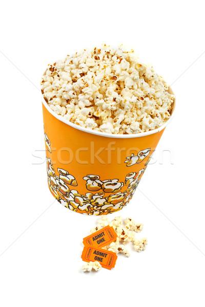 Popcorn bucket and tickets Stock photo © broker
