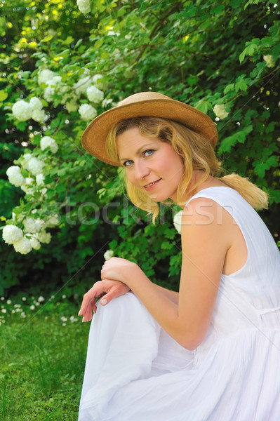 Young woman resting in garden Stock photo © brozova
