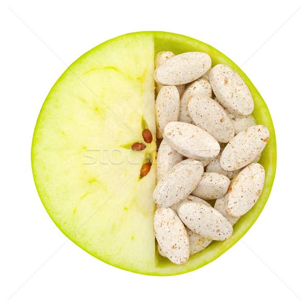 Foto stock: Maçã · pílulas · isolado · vitamina · textura
