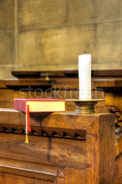 Detail of hymnal and candle Stock photo © brozova