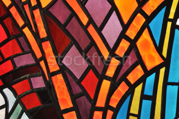 Gebrandschilderd glas venster kerk abstract licht glas Stockfoto © brozova