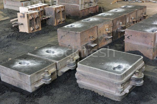 Foundry, sand molded casting, molding flasks Stock photo © brozova