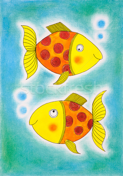 Two golden fish, child's drawing, watercolor painting on paper Stock photo © brozova