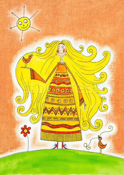 Happy girl with birds, child's drawing, watercolor painting on paper Stock photo © brozova