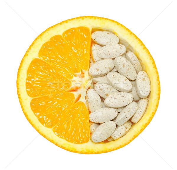 Foto stock: Laranja · pílulas · isolado · vitamina · textura
