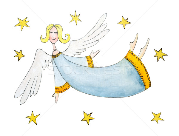 Melek Yıldız çizim Suluboya Boyama Kâğıt Stok Fotoğraf