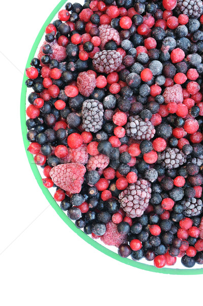 Frozen mixed fruit in bowl - berries - red currant, cranberry, raspberry, blackberry, bilberry, blue Stock photo © brozova