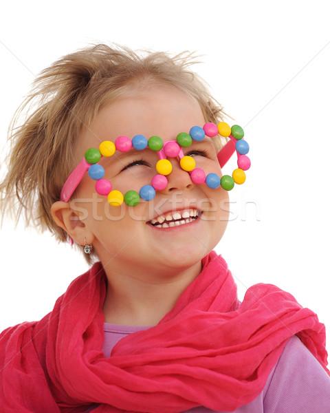 Portre sevimli küçük kız komik gözlük Stok fotoğraf © brozova