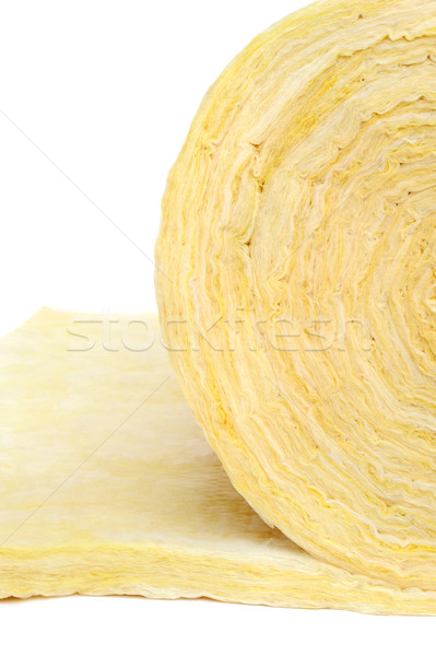 Roll of fiberglass insulation material, isolated on white background. Stock photo © brozova
