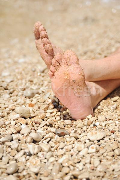 пляж подробность мужчины ног человека Сток-фото © brozova