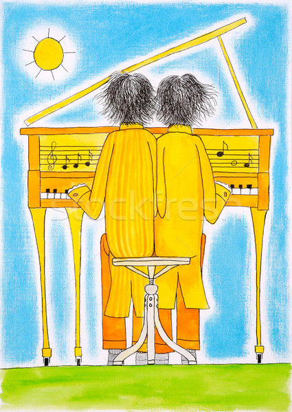 Piano players, Gemini, child's drawing, watercolor painting on paper Stock photo © brozova