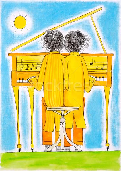 Piano spelers tekening aquarel schilderij papier Stockfoto © brozova