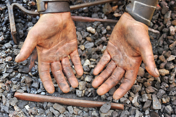 Detail of dirty hands - blacksmith Stock photo © brozova