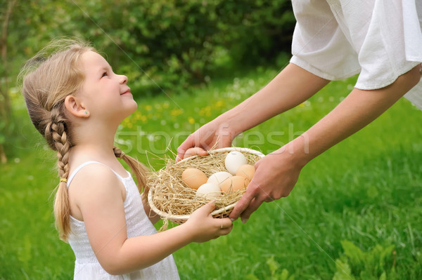 Mother and daughter having Easter time Stock photo © brozova