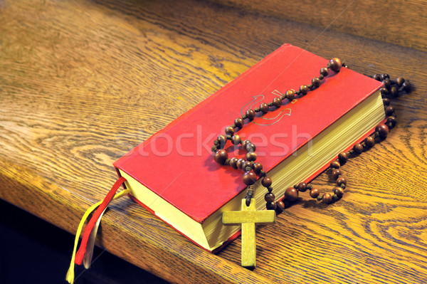 Hymnal  book and wooden rosary bead- detail Stock photo © brozova