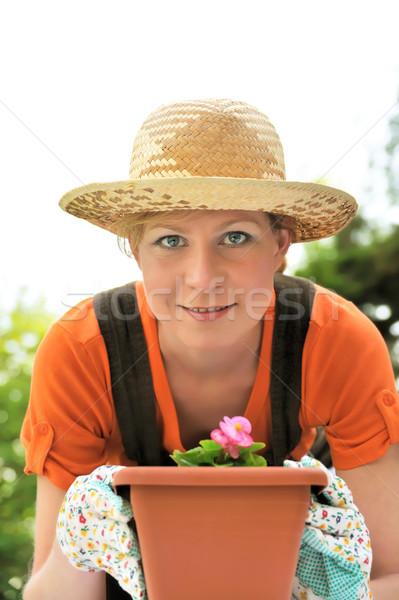 Young woman - gardening Stock photo © brozova