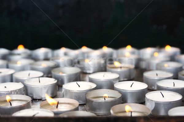 Stockfoto: Gebed · kaarsen · kerk · brand · licht · dood