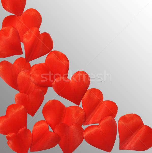 Stock fotó: Szirmok · szív · alak · szürke · keret · vágási · körvonal · virágok