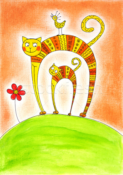 Photo stock: Chat · chaton · dessin · couleur · pour · aquarelle · peinture · papier