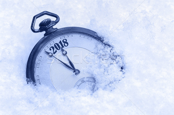 New Year 2018 greeting card, 2018 new year, pocket watch in snow, happy new year concept Stock photo © brozova