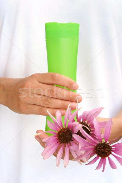Stock fotó: Kezek · fiatal · nő · tart · kozmetika · üveg · friss