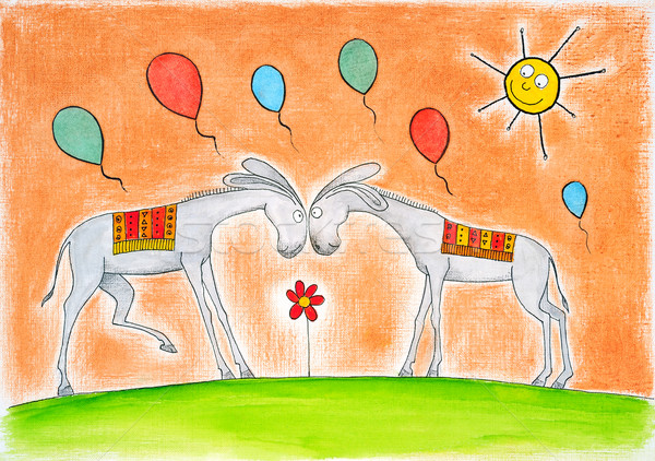 Happy donkeys with balloons, child's drawing, watercolor painting on paper Stock photo © brozova