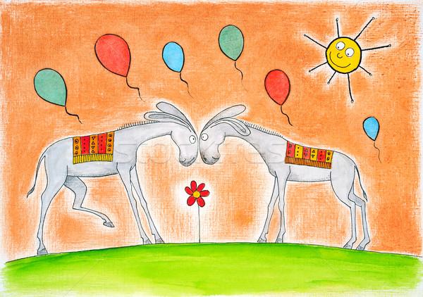 Feliz balões desenho aquarela pintura papel Foto stock © brozova