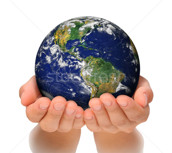 Woman holding globe on her hands, South and North America Stock photo © brozova