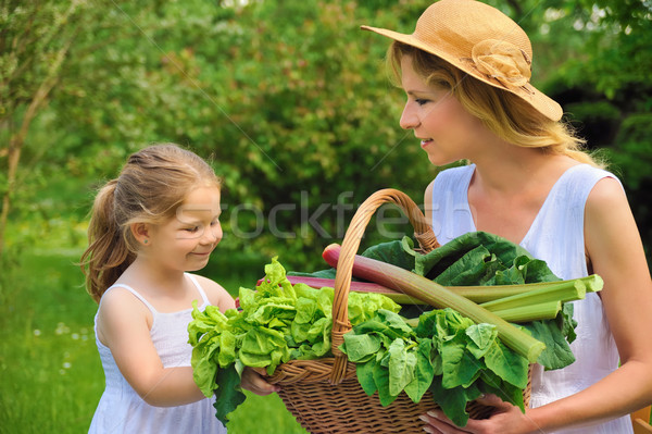 Young woman and daughter with fresh vegetable Stock photo © brozova