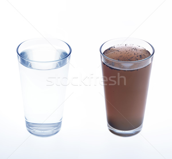 Stock photo: Clean and dirty water in drinking glass - concept
