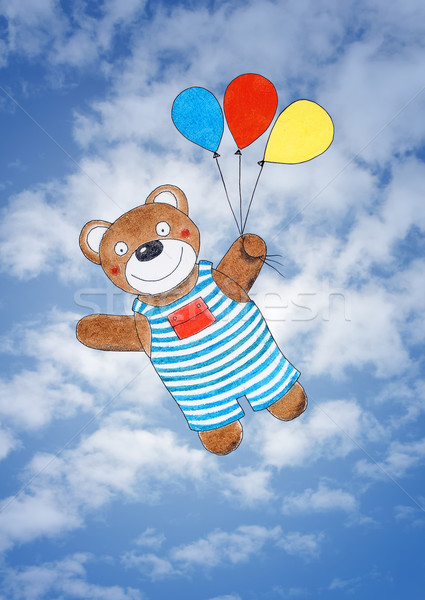 Feliz osito de peluche dibujo acuarela pintura cielo Foto stock © brozova