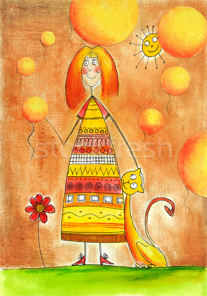Happy girl with cat, child's drawing, watercolor painting on paper Stock photo © brozova