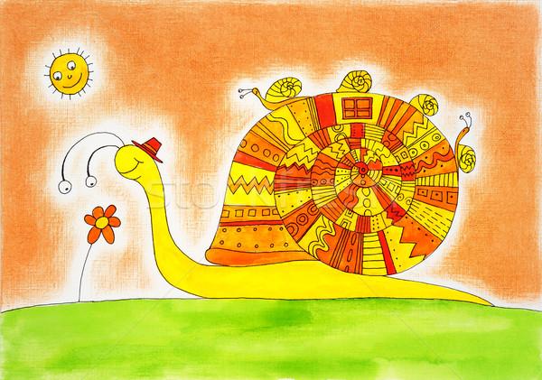 Salyangoz aile çizim suluboya boyama kâğıt Stok fotoğraf © brozova