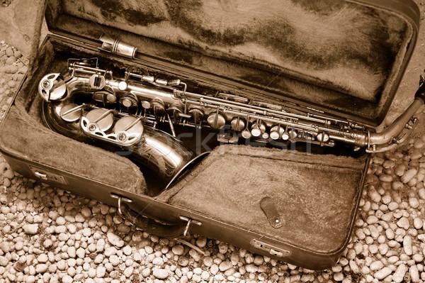 Stockfoto: Saxofoon · oude · leder · geval · ontwerp · vak