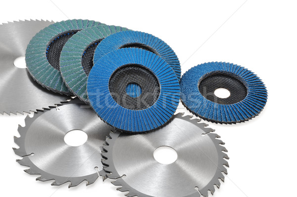 Circular saw blades and abrasive disks  isolated on white Stock photo © brozova