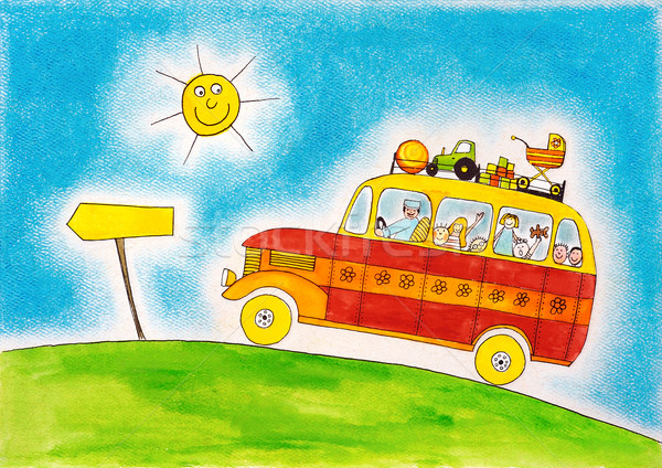 School bus trip, child's drawing, watercolor painting on paper Stock photo © brozova